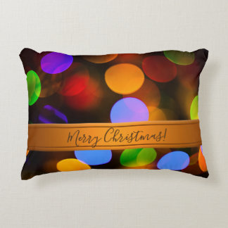 Multicolored Christmas lights. Add text or name. Accent Pillow