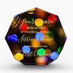 """Multicolored Christmas lights. Add text or name. Acrylic Award<br><div class=""""desc"""">Bright holiday design. Colourful defocused Christmas Garland. Beautiful photography bokeh. You can add your name or the other text.</div>"""