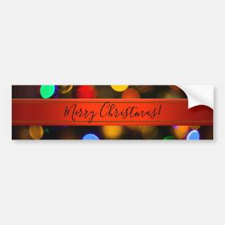 Multicolored Christmas lights. Add text or name. Bumper Sticker