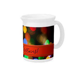 Multicolored Christmas lights. Add text or name. Drink Pitcher