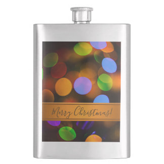 Multicolored Christmas lights. Add text or name. Flask
