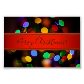 Multicolored Christmas lights. Add text or name. Poster