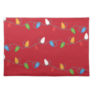 Multicolored Christmas Lights Holiday Cloth Placemat