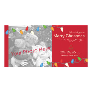Multicolored Christmas Lights Holiday Photo Card