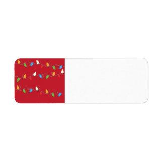 Multicolored Christmas Lights Holiday Return Address Label