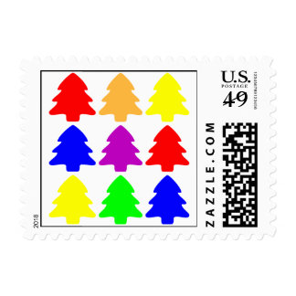 Multicolored Christmas Trees Postage