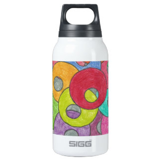 Multicolored circles insulated water bottle