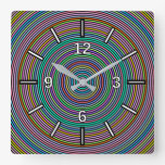 [ Thumbnail: Multicolored Circles/Rings Pattern Square Clock ]