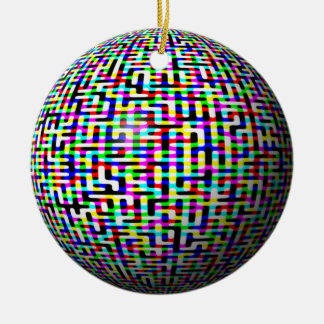 Multicolored Circuits Double-Sided Ceramic Round Christmas Ornament