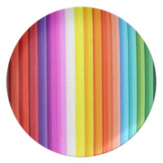 Multicolored Color Pencil Crayons Melamine Plate