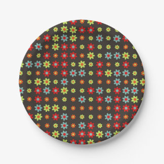 """Multicolored Colorfull Rainbow Flowers Paper 7"""" Paper Plate"""