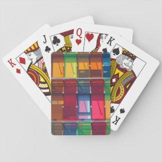 Multicolored commercial building detail card decks
