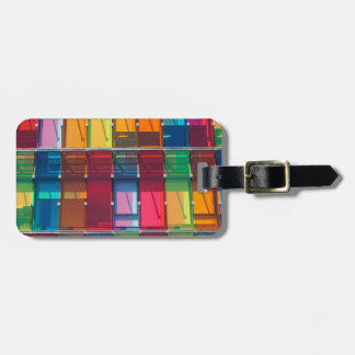 Multicolored commercial building detail luggage tag
