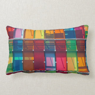 Multicolored commercial building detail lumbar pillow