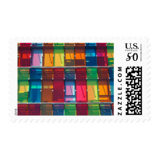 Multicolored commercial building detail postage