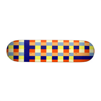 Multicolored cubes and strips skateboard deck