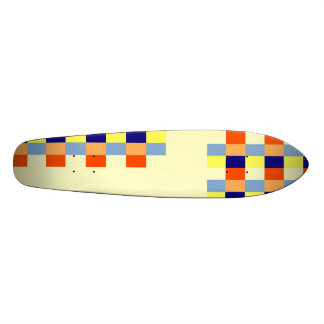 Multicolored cubes and strips skateboards