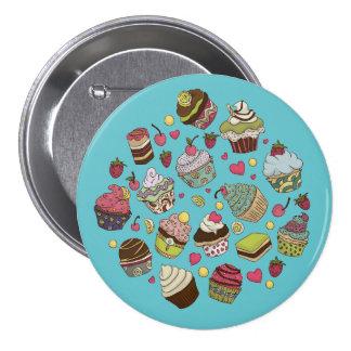 Multicolored Cupcake Anstecker Pinback Button