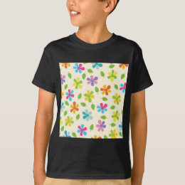 Multicolored Daisies And Leaves Floral Photo T-Shirt