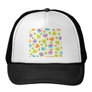 Multicolored Daisies And Leaves Floral Photo Trucker Hat