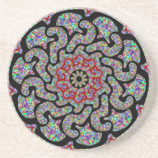 Multicolored design with black and red accents #1 sandstone coaster
