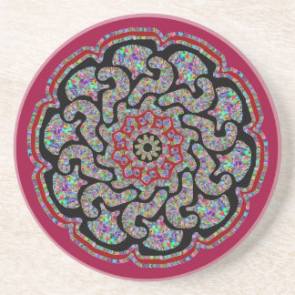 Multicolored design with black and red accents #2 sandstone coaster