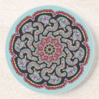 Multicolored design with black and red accents #5 sandstone coaster