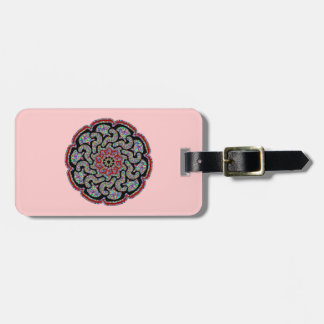 Multicolored design with black and red accents bag tag