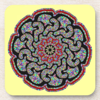 Multicolored design with black and red accents drink coaster