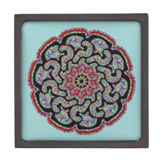 Multicolored design with black and red accents jewelry box