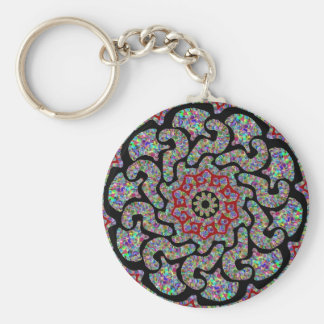 Multicolored design with black and red accents keychain