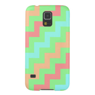 Multicolored Diagonal Zigzag Stripes on Mint Green Galaxy S5 Cases