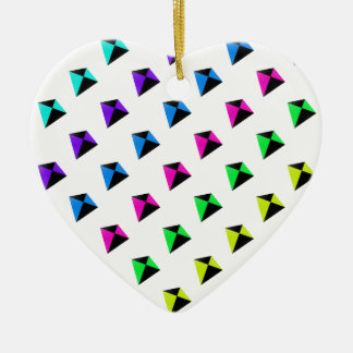 Multicolored Diamond Shaped Kites Pattern Ceramic Ornament