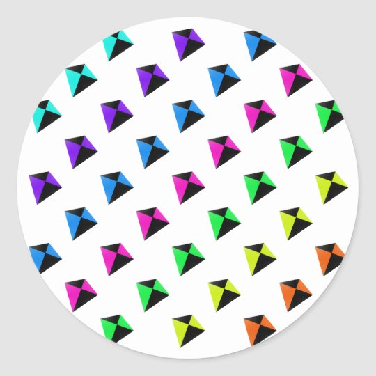 Multicolored Diamond Shaped Kites Pattern Classic Round Sticker