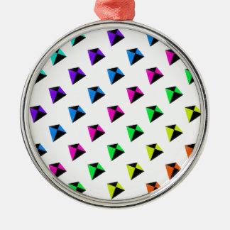 Multicolored Diamond Shaped Kites Pattern Metal Ornament
