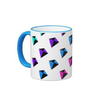 Multicolored Diamond Shaped Kites Pattern Ringer Coffee Mug