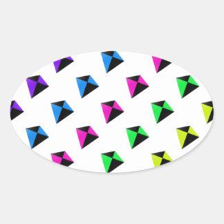 Multicolored Diamond Shaped Kites Pattern Oval Sticker