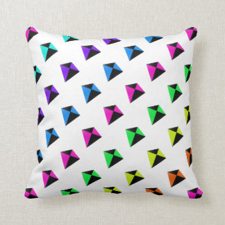 Multicolored Diamond Shaped Kites Pattern Throw Pillow