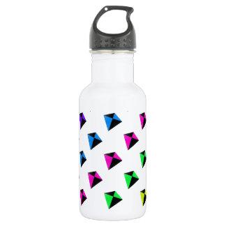 Multicolored Diamond Shaped Kites Pattern Water Bottle