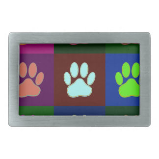 Multicolored Dog Paw Print Pattern Belt Buckles