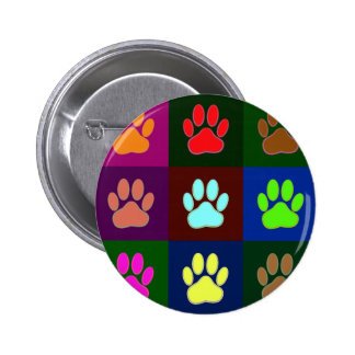 Multicolored Dog Paw Print Pattern Button