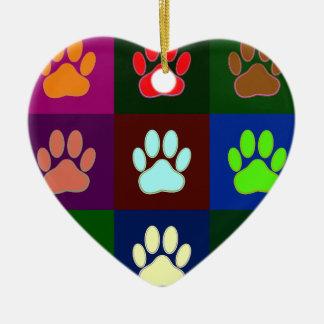 Multicolored Dog Paw Print Pattern Ceramic Ornament
