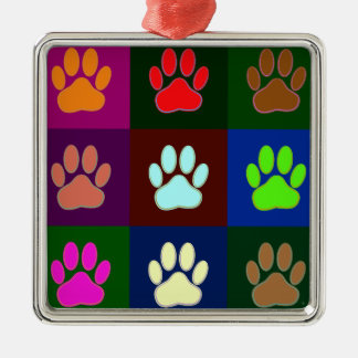 Multicolored Dog Paw Print Pattern Metal Ornament