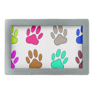 Multicolored Dog Paw Print Pattern Rectangular Belt Buckle
