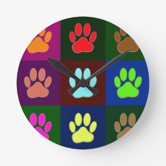 Multicolored Dog Paw Print Pattern Round Clock