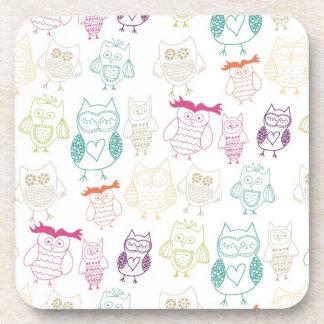 Multicolored Doodle Owls Beverage Coaster