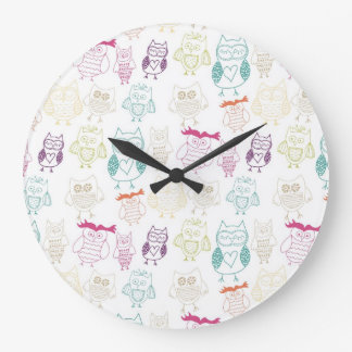 Multicolored Doodle Owls Large Clock