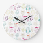 Multicolored Doodle Owls Wall Clock