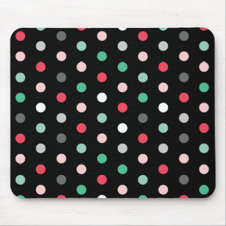 Multicolored Dots on Black Mousepads