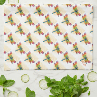 Multicolored Dragonfly Kitchen Towels at Zazzle